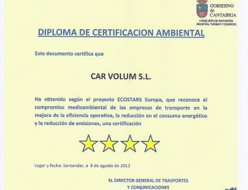 CAR VOLUM RECEIVES AN ENVIRONMENTAL CERTIFICATION